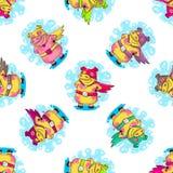 Nowego Roku bezszwowy wzór z świniami obrazy royalty free