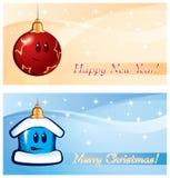 Nowego Roku Bożenarodzeniowy wektorowy kartka z pozdrowieniami Zdjęcie Royalty Free