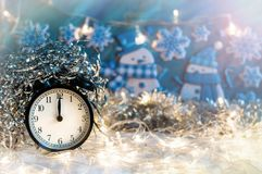 Nowego Roku budzik midpoint Świąteczny Chritmas tło fotografia royalty free