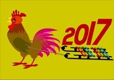 Nowego roku chińczyka pojęcie Kogut niesie 2017 rok na sanie wektoru ilustraci zdjęcia royalty free