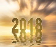 Nowego roku 2018 cyfr teksta zmierzchu plamy tło Zdjęcie Royalty Free