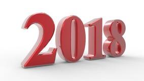 Nowego roku 2018 3d czerwień ilustracji