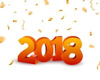 Nowego Roku 2018 3d liczb tło z confetti 2018 wakacje świętowania karty złotych confetti na bielu Zdjęcie Stock