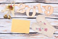 Nowego Roku 2019 drewniany tło Zdjęcie Stock
