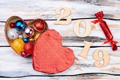 Nowego Roku 2019 drewniany tło Fotografia Royalty Free