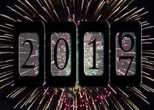 Nowego Roku 2017 drogomierz z fajerwerkami ilustracja wektor