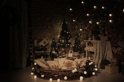 Nowego roku drzewny naturalny studio Fotografia Stock