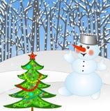 Nowego roku drzewo i śnieżny mężczyzna Zdjęcia Royalty Free