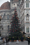 Nowego Roku drzewo na piazza Del Duomo, Duomo Santa Maria Del Fiore i Baptistery święty John, florence Włochy Zdjęcie Stock