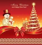 Nowego Roku Galowy plakat z dekorującą choinką Zdjęcie Royalty Free