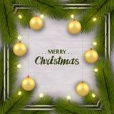 Nowego Roku gratulacyjny set na białej drewnianej ścianie Gałąź, złote piłki, iluminacja ilustracja wektor