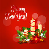 Nowego Roku i Xmas karta z świeczką, holly, sosna royalty ilustracja