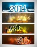 Nowego roku 2014 jaskrawy kolorowy cztery sztandaru i chodnikowowie ilustracji
