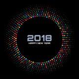 Nowego roku 2018 karciany tło Jaskrawa Kolorowa dyskotek świateł Halftone okręgu rama odizolowywająca na czarnym tle Fotografia Royalty Free