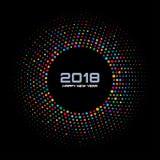 Nowego roku 2018 karciany tło Jaskrawa Kolorowa dyskotek świateł Halftone okręgu rama odizolowywająca na czarnym tle Obraz Stock