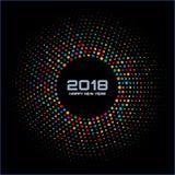 Nowego roku 2018 karciany tło Jaskrawa Kolorowa dyskotek świateł Halftone okręgu rama odizolowywająca na czarnym tle Obrazy Stock