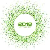 Nowego roku 2018 karciany tło Zielonego Światła Halftone bożych narodzeń okręgu płatka śniegu confetti Ramowy używa okrąg kropkuj Obrazy Royalty Free