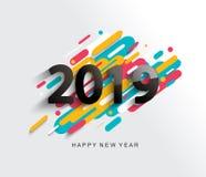 Nowego Roku 2019 karta na nowożytnym tle Royalty Ilustracja