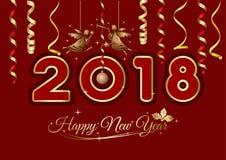 Nowego Roku kartka z pozdrowieniami 2018 Zdjęcie Royalty Free