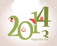 Nowego Roku kartka z pozdrowieniami z boże narodzenie przedmiotami ilustracja wektor