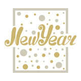 Nowego roku listowego projekta złota połyskiwać Zdjęcia Royalty Free