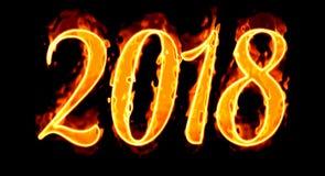 Nowego Roku 2018 Płomienna liczba Na Czarnym Background/ Zdjęcia Stock