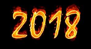Nowego Roku 2018 Płomienna liczba Na Czarnym Background/ Obraz Royalty Free