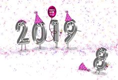 Nowego Roku 2019 partyjny humor ilustracja wektor