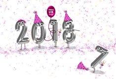 Nowego Roku 2018 partyjny humor ilustracji
