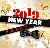 Nowego Roku 2019 partyjny promocyjny plakat z świerczyn gałąź, złocista serpentyna i confetti, łęk tasiemkowy i ogromny znak royalty ilustracja
