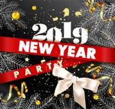 Nowego Roku 2019 partyjny promocyjny plakat z świerczyn gałąź, złocista serpentyna i confetti, łęk tasiemkowy i ogromny znak ilustracji