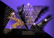 Nowego roku partyjny sztandar z śniadanio-lunch, rogaczem, butelkami szampan i trójbokami choinki, royalty ilustracja