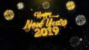 Nowego Roku 2019 pisać złociste cząsteczki Wybucha fajerwerku pokazu