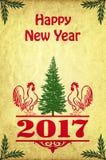 Nowego Roku plakat z kogutami Obrazy Stock