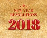 Nowego roku postanowienia 2018 3d rendering na złocistej błyskotanie błyskotliwości Zdjęcie Stock