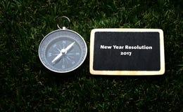 Nowego Roku postanowienia 2017 handwriting na etykietce Obrazy Royalty Free