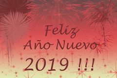 Nowego roku 2019 powitań karta Fajerwerków skutki na tle ilustracja wektor