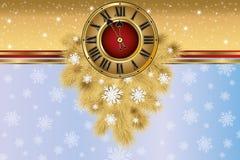 Nowego Roku powitania sztandar z xmas złotym zegarem royalty ilustracja