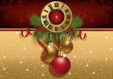 Nowego Roku powitania sztandar z xmas zegarem i piłkami ilustracji