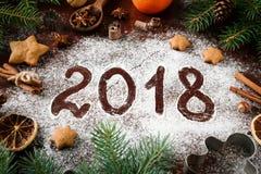 Nowego Roku powitanie 2018 Pisać Na mąki kartce bożonarodzeniowa Obraz Stock