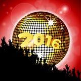 Nowego Roku przyjęcie 2016 z dyskoteka tłumem i piłką Zdjęcie Royalty Free