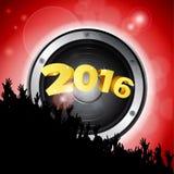Nowego Roku przyjęcie 2016 z mówcą i tłumem Fotografia Stock
