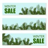 Nowego Roku s boże narodzenia Ulotka, wizytówki, pocztówki zaproszenia zimy sprzedaż Zielony gałąź zakończenie Fotografia Stock