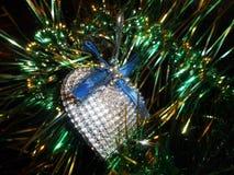 Nowego Roku ` s dekoracyjny srebny serce Obraz Stock