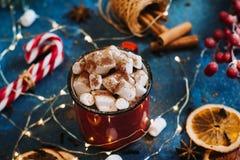 Nowego Roku ` s filiżanka z marshmallows Zdjęcie Stock