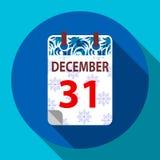 Nowego Roku ` s kalendarz 31 Grudzień Obrazy Stock