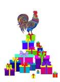 Nowego Roku ` s prezenty i kogut Obraz Royalty Free