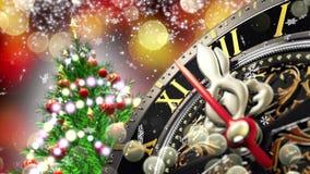 Nowego Roku ` s przy północą - stary zegar z gwiazda płatkami śniegu i wakacji światłami 4K ilustracji