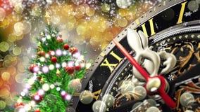 Nowego Roku ` s przy północą - stary zegar z gwiazda płatkami śniegu i wakacji światłami 4K royalty ilustracja