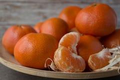 Nowego Roku ` s tangerines na drewnianym tle Obraz Royalty Free